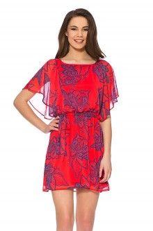 Tunika-Kleid mit Blumen-Print