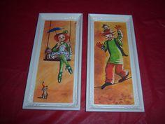 (2) vintage BOY GIRL CLOWNS prints-1960s-DIANNE DENGEL art-original CAMPY frames