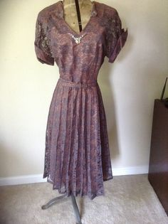 1950s Lovette Fashions purple lace dress by MuggiesVintageFinds