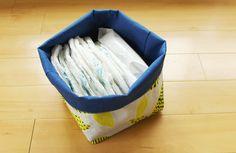 nunocoto fabricを使って作るシリーズ。今回はなんともシンプルな、、、箱?箱なのかなこれ。箱ってことにします。箱を作りました!ファブリックバスケットです。使ったのは、「happa(葉っぱ)/イエロー」です。