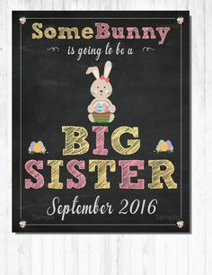 Easter Big Sister Announcement Spring Big Sister by redcupdesigns