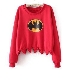 Designer Red Batman Print Dentate Hem Crop Sweater