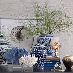 """Time to rearrange my blue and white and sea shells...Blue  White Ginger Jar Lidded Urn, 12"""" Williams-Sonoma with Coral"""