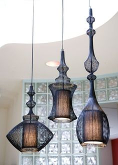 LOVE these hanging lamps - mix of traditional, contemporary, rustic and sleek all in one.