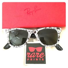 Authentic Ray Ban Wayfarers 2140 Comic Sunglasses RB2140 1047 - Comic like black and white RayBans. They are kind of a wide fit so they may be a little loose on smaller heads but you can probably take it into a store to get them adjusted. Comes with box, case, and papers. No cloth. Box is a little dinged and the case has some marks on the back and some scratches. Ray-Ban Accessories Sunglasses