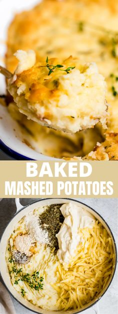 These Creamy Baked Mashed Potatoes are the quintessential holiday side! Flavored with thyme and plenty of melty white cheddar cheese, they are the best mashed potatoes you'll ever make! #mashedpotatoes #sidedish #thanksgiving #christmas