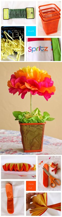 an easy tissue paper flower centerpiece. Tutorial by Michelle of One Crafty Mama http://michelle-onecraftymama.blogspot.ca/2012/05/easy-tissue-paper-flower-centerpieces.html