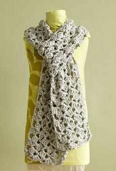 Lacy Scarf, free pattern by Lion Brand Yarn.  Lots of different looks depending on yarn & hook size (check Ravelry Project tab).  . . .  ღTrish W ~ http://www.pinterest.com/trishw/  . . .   #crochet