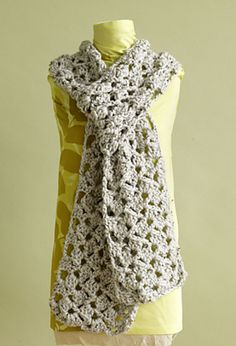Lacy Scarf, free pattern by Lion Brand Yarn.  Lots of different looks depending on yarn & hook size (check Ravelry Project tab).  . . .  ღTrish W ~ http://www.pinterest.com/trishw/  . . .   #crochet