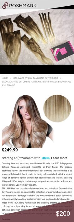 Bellami Balayage hair extensions by Guy Tang Bellami Balayage hair extensions by Guy Tang  Original packaging and the original brush Only worn twice and never cut or styled Other