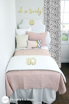 Custom dorm bedding packages from Cute dorm room bedding sets complete with throw pillows, duvet cover, bed skirt, headboard and more. All twin xl bedding sets are great dorm room ideas for you! Dorm Bedding Sets, Teen Girl Bedding, Girls Bedding Sets, Teen Girl Bedrooms, Comforter Sets, Dorm Room Designs, Cool Dorm Rooms, My New Room, Bed Design