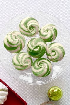 christmas candy - peppermint swirl meringues