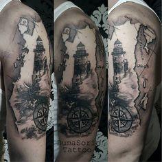 Tattoo by Duma sorin tattoo #tattoo #lighthouse #oldmap #inked @inkedmagazine