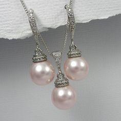 Light Pink Bridesmaid Jewelry Set Swarovski by alexandreasjewels