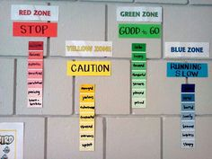 Zone of regulation wall & feelings under each zone. (Make using paint sample strips)