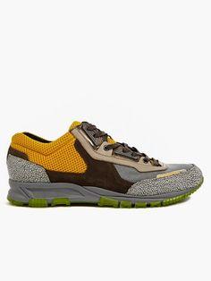 Lanvin Men's Embossed Leather and Mesh Running Sneakers | oki-ni