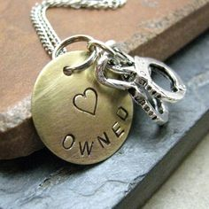 Owned Stamped Metal Handcuff Necklace brass disc by riskybeads, $22.95 - Hah! i love the handcuffs.
