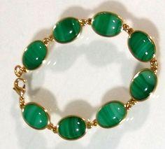 NOBLAG GREEN STONE GOLD-TONE STRETCH BRACELET