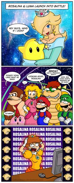 Anyone recognize that one of the Rosalinas in the end is Luigi Super Mario Brothers, New Super Mario Bros, Super Mario Art, Video Games Funny, Funny Games, Harmonie Mario, Mario Funny, Mario Comics, Nintendo Princess