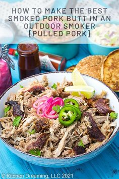 How to smoke pork shoulder (pork butt) for the best pulled pork you have ever had. BBQ pulled pork is absolutely perfect for sandwiches, wraps, tacos, nachos, and salads. Pork Recipes For Dinner, Dinner Recipes Easy Quick, Delicious Recipes, Appetizer Recipes, Yummy Food, Bhg Recipes, Real Food Recipes, Smoked Pork Shoulder, Bbq Sauces