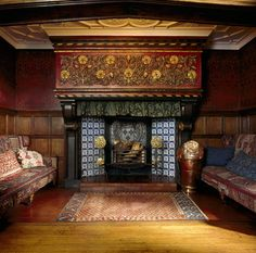 The blue tiled inglenook fireplace with stone manetlpiece in the Great Parlour at Wightwick Manor. A Yomut rug is on the floor and the sofas are covered with Caucasian Sile flat-weave carpet. Arts And Crafts For Adults, Arts And Crafts House, Easy Arts And Crafts, Crafts For Seniors, Crafts For Girls, Home Crafts, William Morris, Inglenook Fireplace, Fireplaces