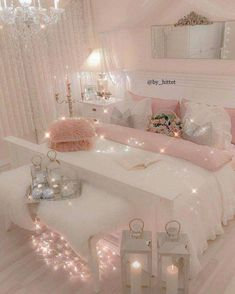 21 Cozy Decor Ideas With Bedroom String Lights is part of Girly Room Decor Ideas - Mesmerizing decoration ideas with bedroom string lights can be found in our photo gallery Discover our ideas for interior and exterior and get inspired Girly Bedroom Decor, Cute Bedroom Ideas, Cute Room Decor, Girl Bedroom Designs, Bedroom Colors, Wall Decor, Girl Bedroom Decorations, Small Bedroom Decorating, Girls Pink Bedroom Ideas