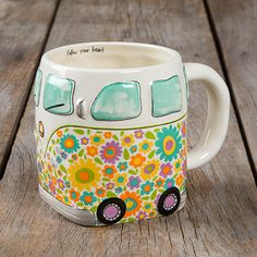 This folk art mug will have you smiling every time you drink from it! It features an adorable vintage van design and the sweet sentiment,