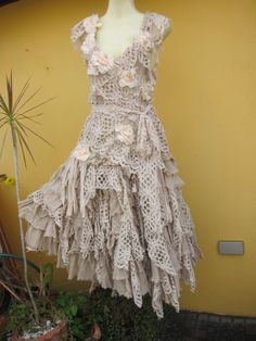 vintage inspired shabby bohemian gypsy dress....shabby cotton,roses and crochet lace.... $225.00, via Etsy.