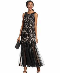 Betsy & Adam Sleeveless Lace Illusion Pleat Gown -- love the 1920s feel of this one!