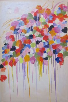Original abstract oil floral on 24 x 36 canvas by Kerry Steele