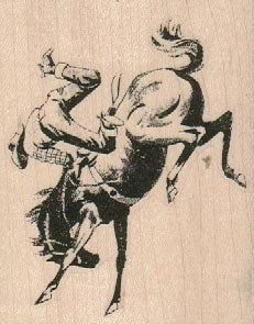 Horse Bucking Cowboy wood mounted rubber stamp by pinkflamingo61, $10.00