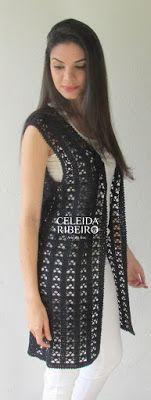 Max colete de crochet Celeida Ribeiro. Max colete de crochet. 3 novelos. ( use o fio de sua preferência) agulha 2,00 mm ...