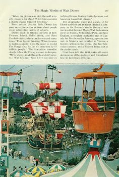 The Magic Worlds of Walt Disney - National Geographic August 1963: The Skyway gondola passes over the Chicken of the Sea Pirate Ship in Skull Rock Cove.