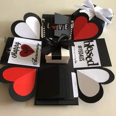 Explosion box with gift box , 8 waterfall in black , white red, Design & Craft, Others on Carousell Cute Birthday Gift, Friend Birthday Gifts, Diy Birthday, Valentines Gifts For Boyfriend, Valentines Diy, Boyfriend Gifts, Diy Surprise Box, Craft Gifts, Diy Gifts