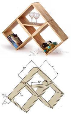 Bookshelf and Wine Rack Plan - Furniture Plans and Projects | WoodArchivist.com