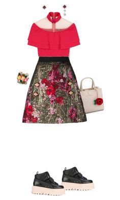 """""""Hola floral skirt"""" by merryl-key on Polyvore featuring Puma, Disney, Dolce&Gabbana, Shay, Balmain, Baccarat, Alexander McQueen and Bijoux de Famille"""