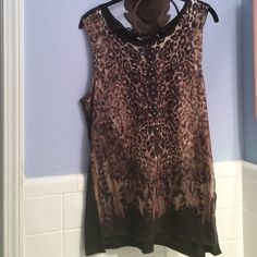 Rhinestone Sleeveless Top Rhinestone Brown Leopard Print in Front. sleeveless   Ties in Back at Top. Solid Brown in Back. Brand Rock & Republic. Size Large Rock & Republic Tops Tees - Short Sleeve