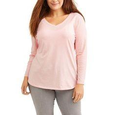 Plus Size Faded Glory Women's Plus LongSleeve Tee, Size: 2XL, Pink