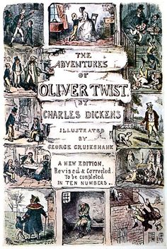 Special wrapper. Design used upon the covers for Oliver Twist when first published in parts.    George Cuikshank, from Cruikshank's water colours, by Joseph Grego, London, 1903.    (Source: archive.org)