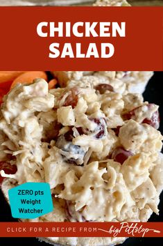 This summery take on a traditional chicken salad is full of fruit and savory seasonings to enhance the flavor and keep the Weight Watcher points at zero for one serving. Easy lunches are the best way to go for a busy mom trying to stay healthy and use here down time to be productive. This quick and easy chicken salad recipe is perfect to eat all week, carry along for a picnic or serve at a party or shower. #chickensaladwithgrapes #healthychickensalad #zeropointlunch #ww #weightwatchers