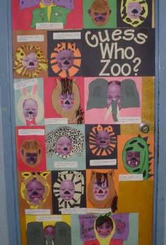 Students use their enlarged digital photo and create a zoo animal. They scramble their name and have people guess who was at/in the zoo. This was a door decoration for open house. Classroom Displays, Preschool Classroom, Classroom Themes, Classroom Activities, Preschool Crafts, Zoo Crafts, Future Classroom, Jungle Crafts, Jungle Theme Classroom