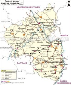 Map of Rheinland-Pfalz shows international boundaries, capitals and major cities, railroad network and airports in the state. Mainz is the capital of the state. Kaiserslautern, Nassau, Mainz Germany, Germany Language, Rhineland Palatinate, North Rhine Westphalia, Location Map, Trip Planning, Charts