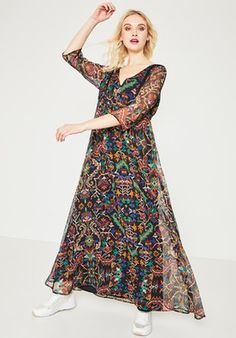 1b4d16e4cd686 Longue robe imprimée Femme - Imprimé noir - Robes - Femme - Promod