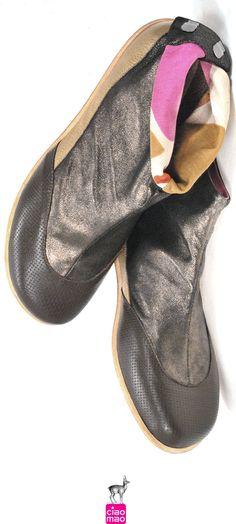 Chame, Charme, Chamois, Chic - Bota TABI em couro chamois metalizado - Women's boots - www.ciaomao.com