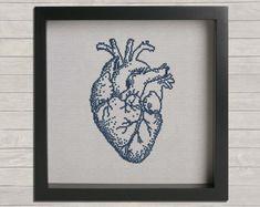 Anatomy No. 2 Heart Cross Stitch PDF Pattern. DIY by LizzyandIzzy