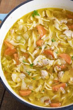 Stay cozy with this comforting recipe for classic chicken noodle soup! Chicken Noodle Soup, Chicken Soup Recipes, Easy Soup Recipes, Healthy Recipes, Keto Recipes, Noodle Soups, Oven Recipes, Noodle Recipes, Salad Recipes