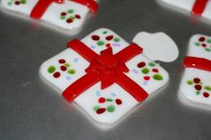 fused glass ornaments Christmas - wrapped present