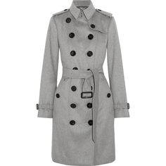 Burberry The Sandringham cashmere trench coat (4 535 BGN) ❤ liked on Polyvore featuring outerwear, coats, jackets, grey, grey coat, cashmere coat, double-breasted trench coats, button coat and double breasted coat