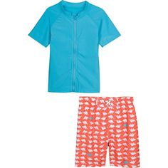 SwimZip¨ Little Boy Zipper Long Sleeve Rash Guard Swimsuit Set DinoMite Gray 2T - Brought to you by Avarsha.com