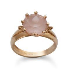 Pink Gold Ring, Large Engagement ring Vintage style Wedding ring, 14K gold ring, Round Rose quartz, Classic Handmade ring Gemstone ring sale